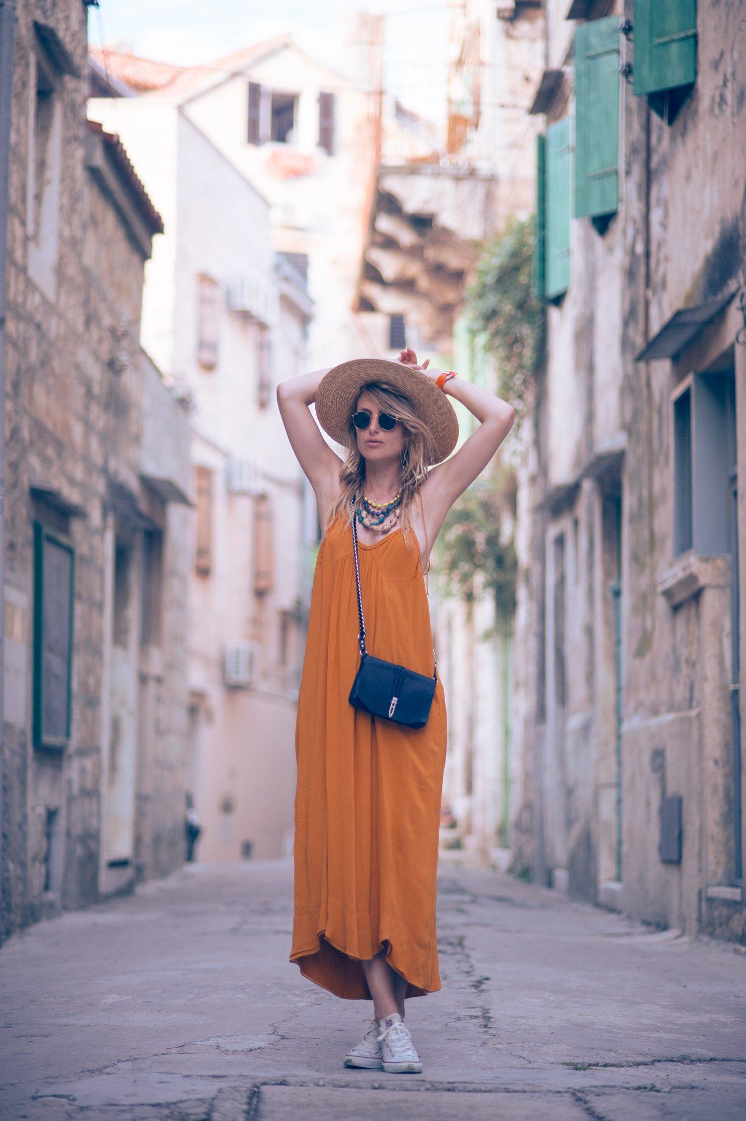 yellow zara dress fashion blogger
