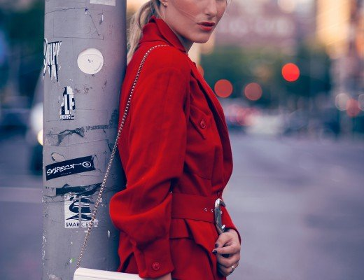 red jacket fashion blogger