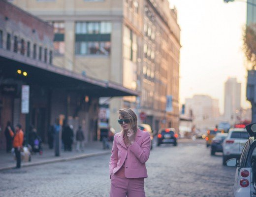 pink suit fashion blogger