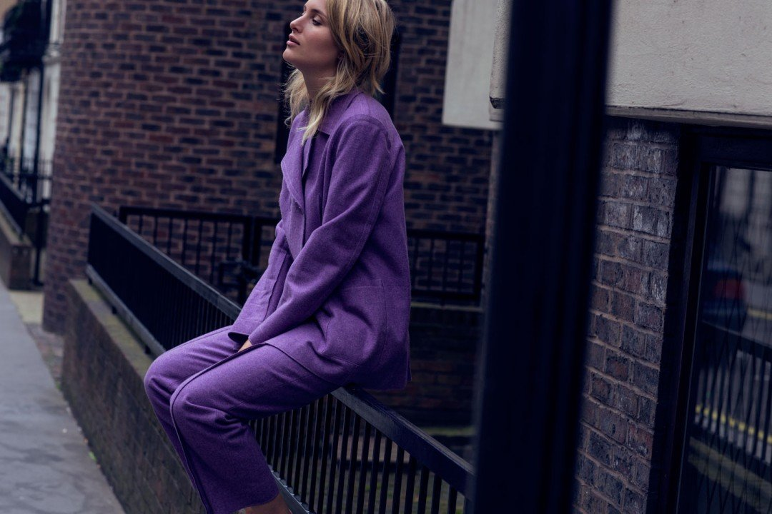 rebecca laurey purple suit