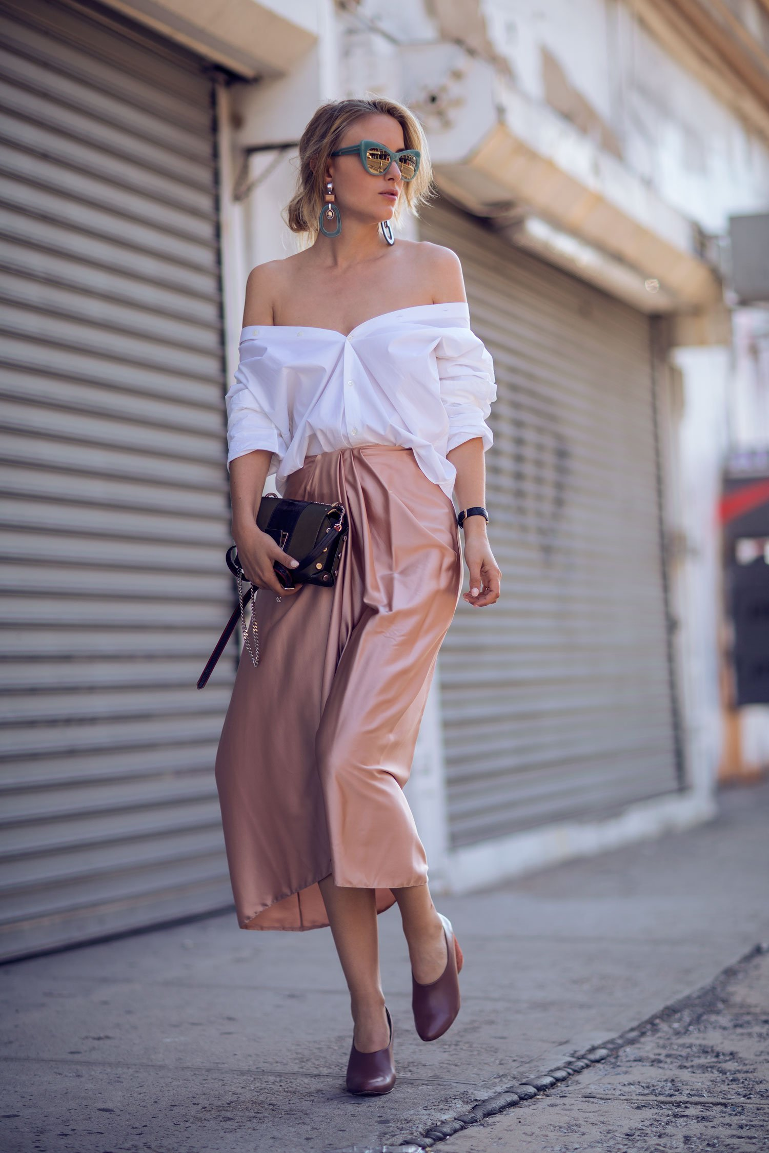 rebecca laurey white off shoulder shirt
