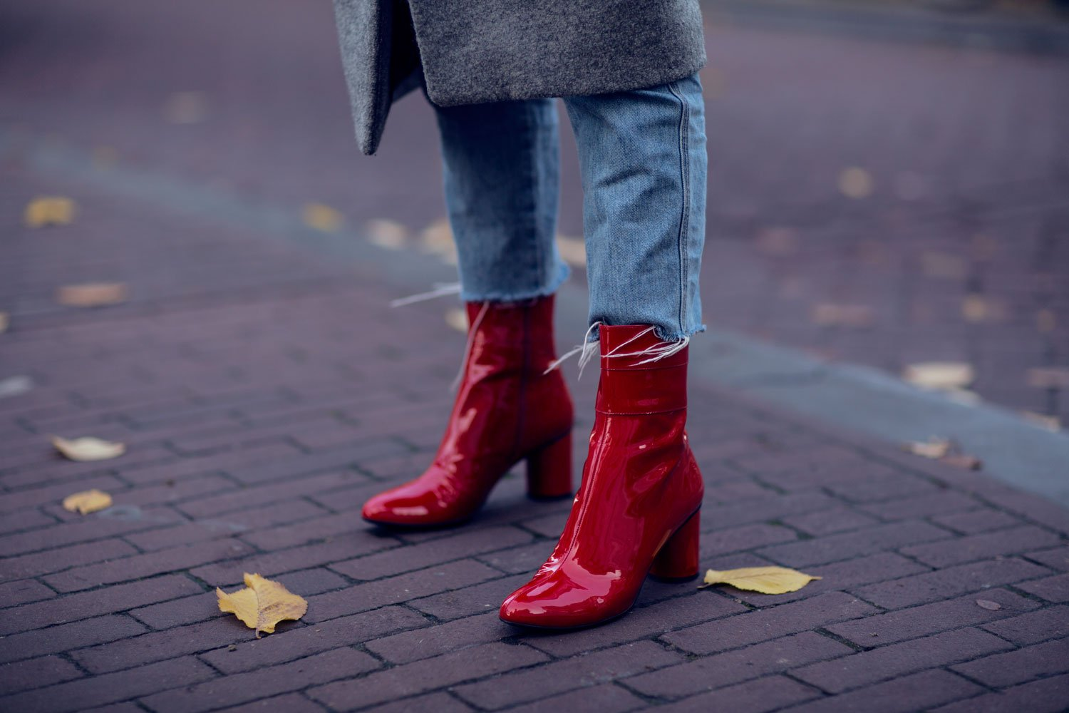 rebecca laurey red patent boots